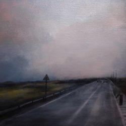 Kirrily Hammond, Rainy Road, Belgium 2016, Oil On Linen, 30.0 X 30.0 Cm