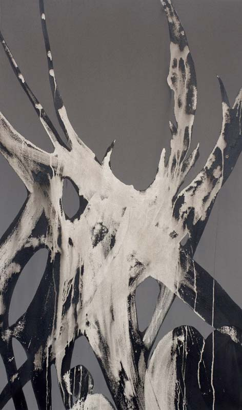 Kirstin Berg, Ash and Bone, pigment and ash, 165x105cm