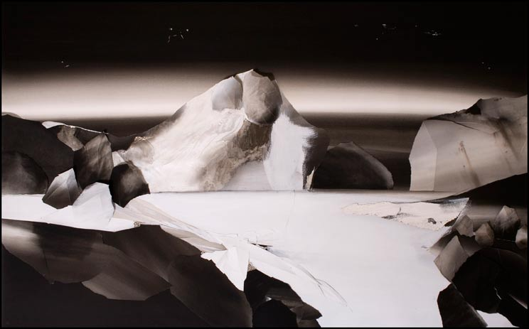Kirstin Berg, Still Night, 2009, graphite, enamel, oil, ash and pins on paper, 130x205cm