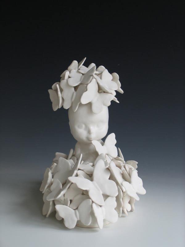 Linda Draper, Doll, Hand Built Porcelaneous Glaze Firings, Multiple Glaze Firings