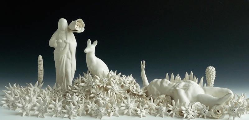 Linda Draper, Home Altar Installation, Hand Built Porcelaneous Glaze Firings, Multiple Glaze Firings