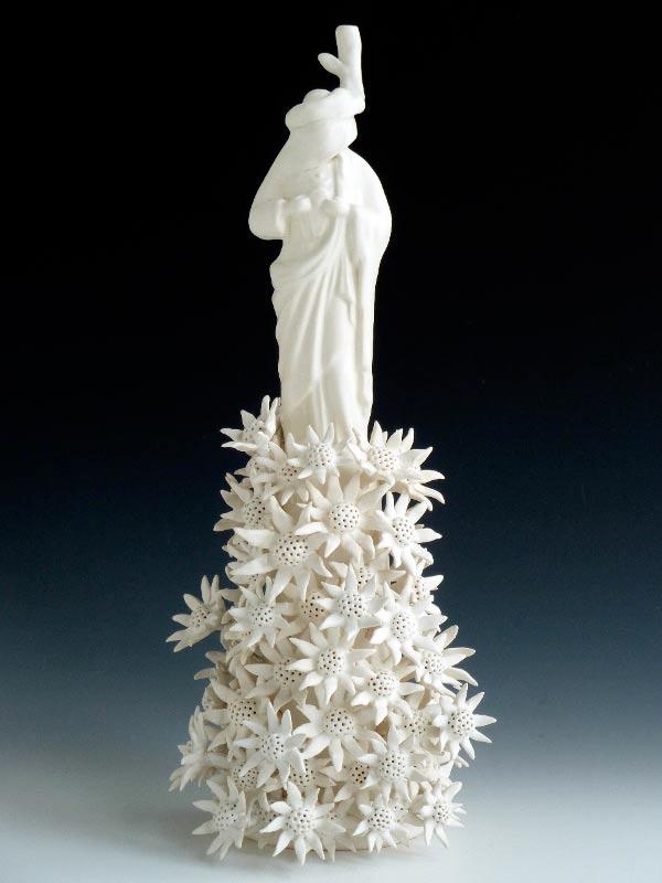 Linda Draper, Jesus, Hand Built Porcelaneous Glaze Firings, Multiple Glaze Firings