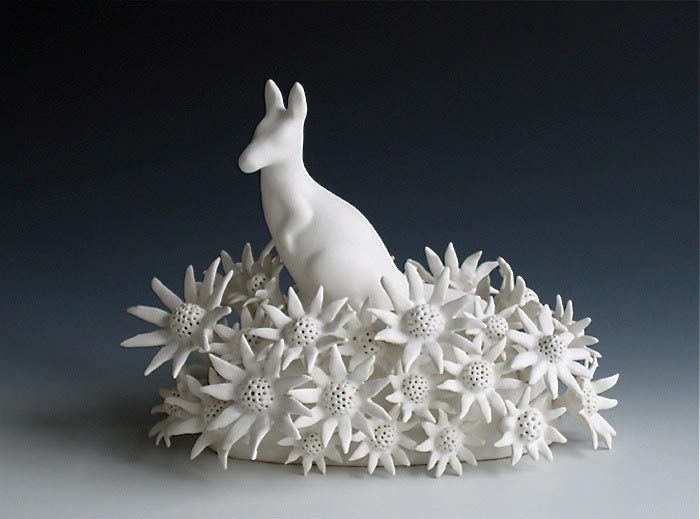 Kangaroo, Linda Draper, hand built porcelaneous glaze firings, multiple glaze firings