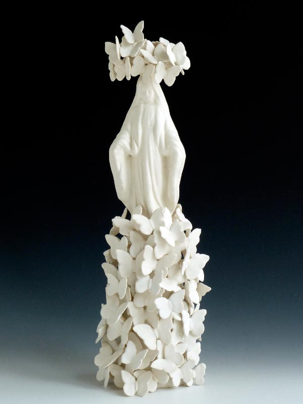 Linda Draper, Mary, hand built porcelaneous glaze firings, multiple glaze firings