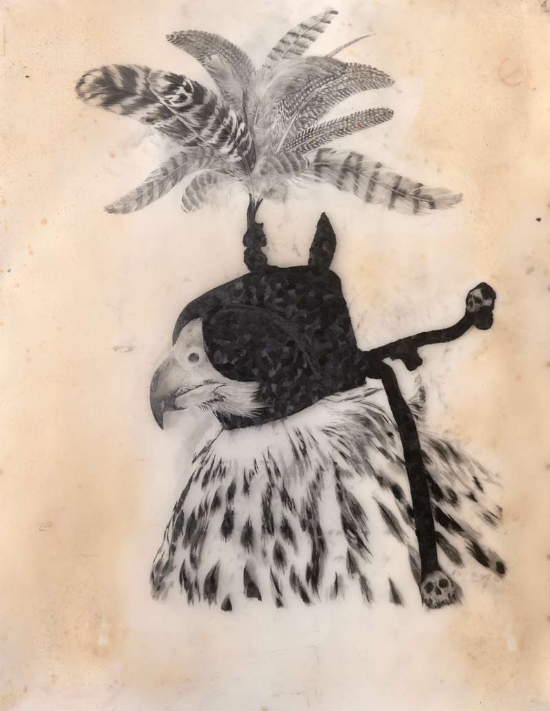Martin King, Blind Faith, graphite on drafting film, pigment on paper