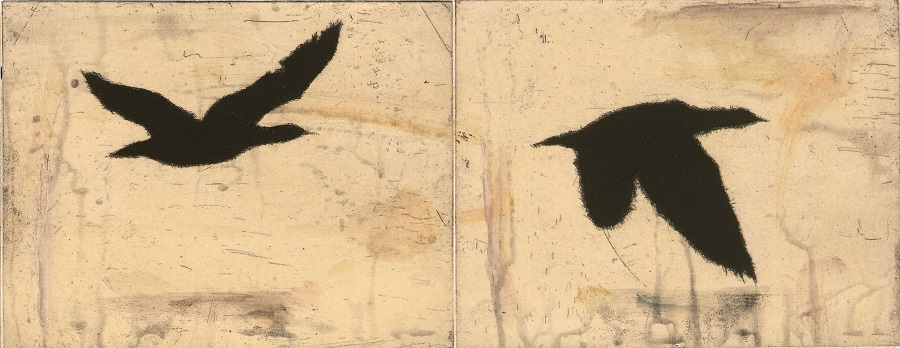martin-king-flow IV, etching and watercolour, 17.5x91 cm, edition 20 - Copy