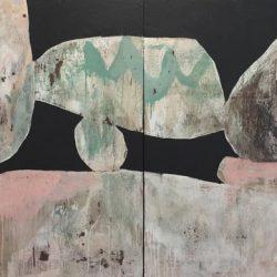 Ngaio Lenz, #97, Mixed Media On Canvas, 122x244cm (diptych)