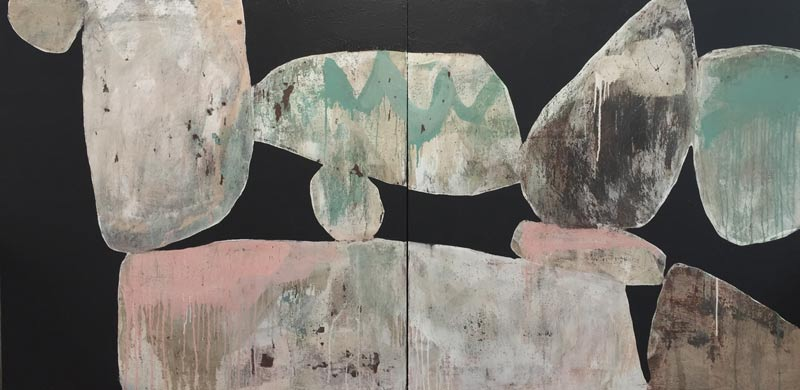 Ngaio Lenz, #97, mixed media on canvas, 122x244cm (diptych)
