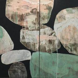 Ngaio Lenz, #98, Mixed Media On Canvas, 122x244cm (diptych)