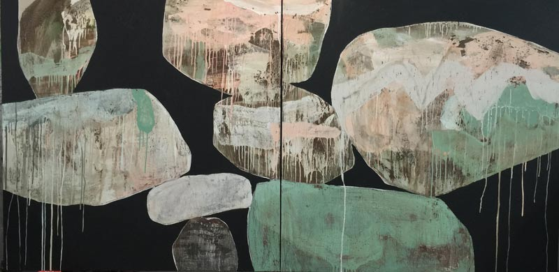 Ngaio Lenz, #98, mixed media on canvas, 122x244cm (diptych)