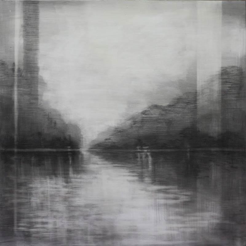 Adriane Strampp, Mirror, Charcoal, 50x50cm