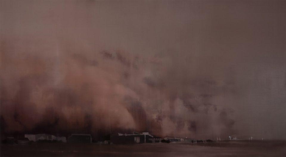 Adriane Strampp, Dust Storm, 2019, oil on linen, 91x267cm