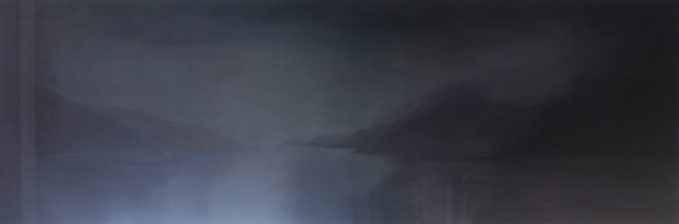 Adriane Strampp, Uncertain Histories, 2015, oil on linen, 91x274cm