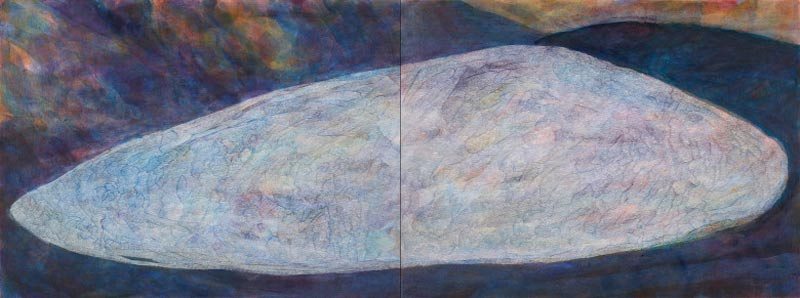 Sue Lovegrove, 549, Acrylic And Gouache On Linen, 45x120cm (diptych)