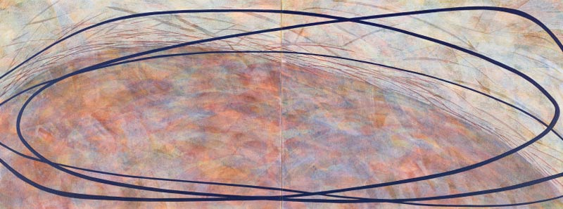 Sue Lovegrove, No. 550, 2015, acrylic and gouache on linen, 45x120cm (diptych)