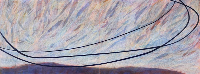 Sue Lovegrove, No. 551, 2015, Acrylic And Gouache On Linen, 45x120cm (diptych)