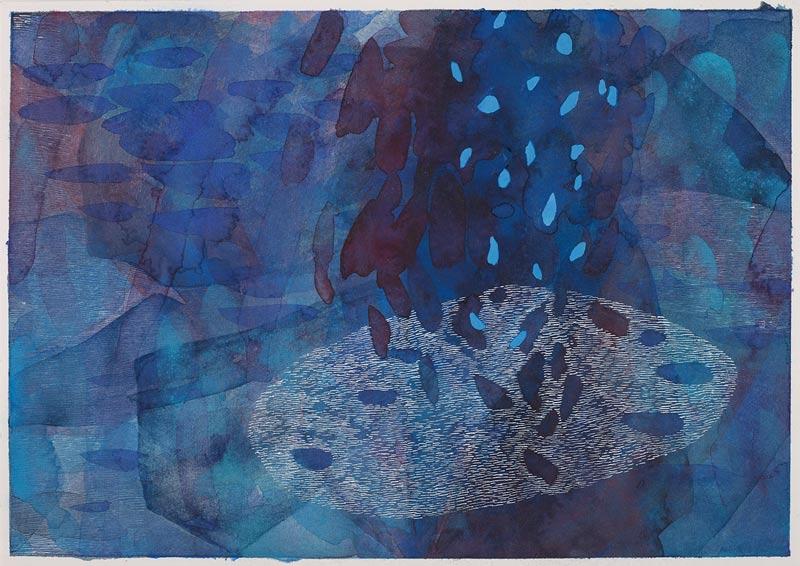 Sue Lovegrove, Cloud Lake 2, 2015, acrylic and gouache on paper, 44x50.5cm