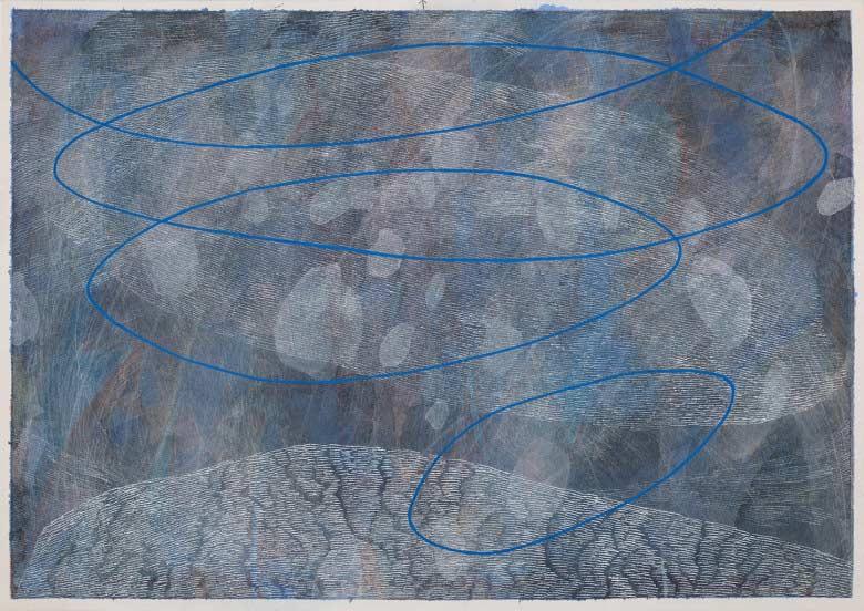 Sue Lovegrove, Cloud Lake 1, 2015, acrylic and gouache on paper, 44x50.5cm