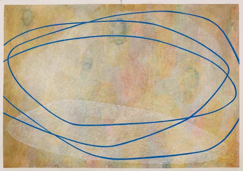 Sue Lovegrove, Cloud Lake 3, 2015, acrylic and gouache on paper, 44x50.5cm