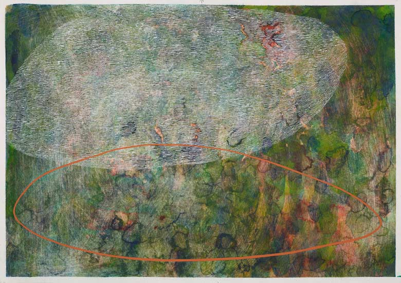 Sue Lovegrove, Cloud Lake 5, 2015, acrylic and gouache on paper, 44x50.5cm