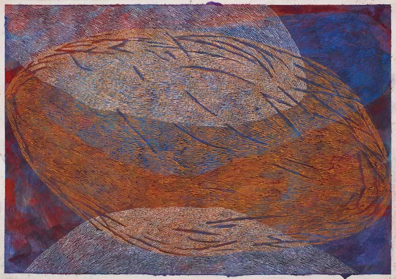 Sue Lovegrove, Cloud Lake 7, 2015, acrylic and gouache on paper, 44x50.5cm