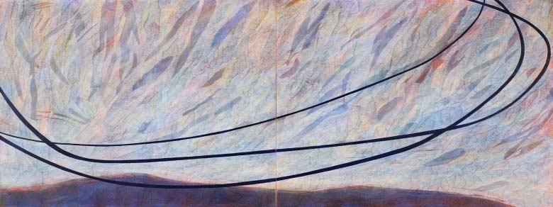 Sue Lovegrove, No. 551, 2015, acrylic and gouache on linen, 45x120cm (diptych)