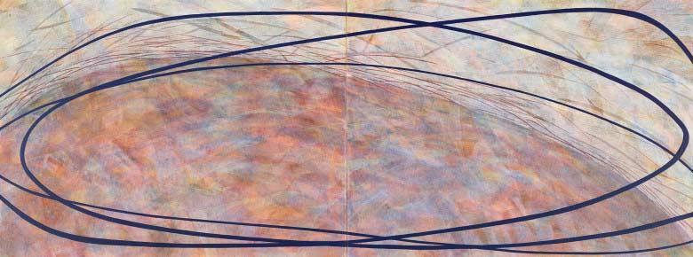 Sue Lovegrove, No. 550, 2015, acrylic and gouache on linen, 45x120cm (diptych)
